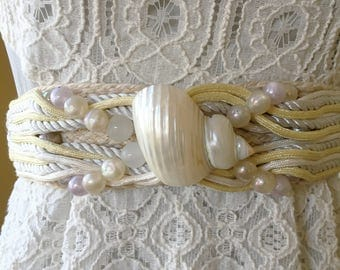 80s cinch rope belt in pale gray and buttercup yellow with beads and pearlized shell