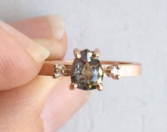 Salt and Pepper Diamond Engagement Ring | Pear Shaped Rough Gray Diamond Rose Gold| Three stone ring with conflict free repurposed diamonds