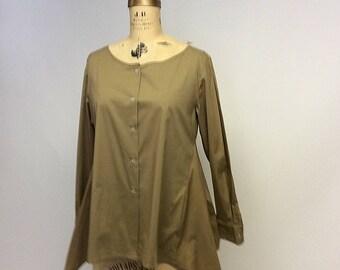 Handmade Paper Bag Parchment Asymmetrical Cotton Woman's  button front shirt