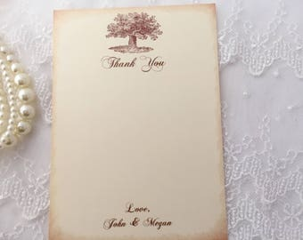 Oak Tree Thank You Cards, Tree Thank You Cards, Tree Stationery, Wedding Note Cards, Set of 10