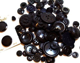Vintage Black Buttons x 100 pieces, Used Garment Buttons
