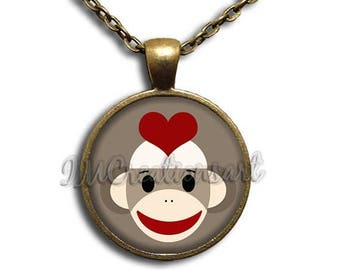 20% OFF - Love Sock Monkey Glass Dome Pendant or with Chain Link Necklace  AN186