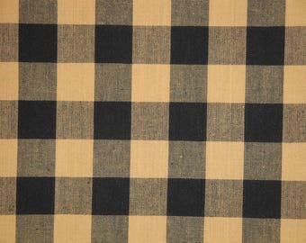Buffalo Check Fabric | Black And Tan Buffalo Check Homespun Fabric | Farmhouse Check Fabric | Home Decor Fabric | 1 Yard