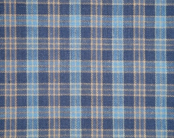 Homespun Fabric | Cotton Fabric | Home Decor Fabric | Quilt Fabric | Small Plaid Fabric | Navy, Blue and Khaki Fabric |  16 x 44