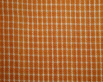 FLAWED Homespun Material | Orange Window Pane Material | Fall Material | Quilt Material | Cotton Material | 1 YARD FLAWED