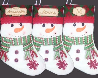 Personalized Christmas Stocking, Custom Wood Name, Rustic Christmas, Snowman Stockings, Gifts for Him, Gifts for Her