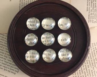 9 cabochon clear glass words magnet FREE US Shipping