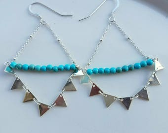 Turquoise Sterling Silver Earrings Triangle Fringe