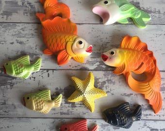 Vintage Chalkware Wall Plaques Miller Studios Fish Starfish Goldfish Koi Guppies 1971