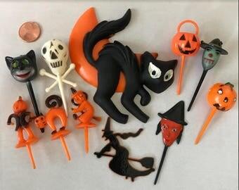 Vintage Halloween Cake Decoration/ Halloween Cake Topper & Picks/ Black Cat, Witch, Pumpkin
