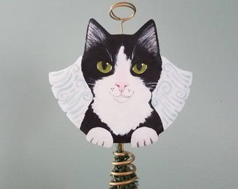 Tuxedo Cat Angel - Cat Tree Topper - Christmas Tree Topper - Cat Memorial - Cat Angel - Tree Topper - Tuxedo Cat Art - Angel Tree Topper
