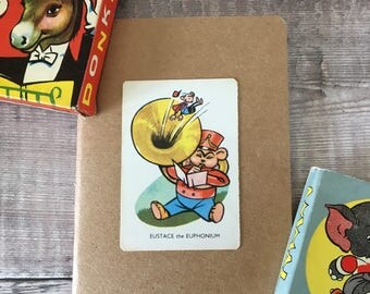 Musician Notebook with vintage playing card cover A6 size