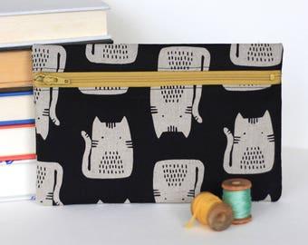 Black Cat Zipper Pouch Accessory Case Kitten Wallet