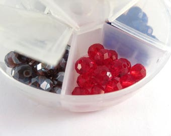 90 Glass Bead Assortment 8x6mm Rondelle Faceted Bead Mix - 90 pc - MS11062