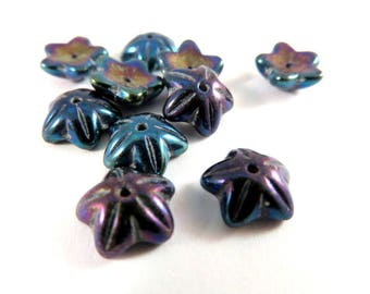 10 Czech Glass Flowers Peacock AB5 Petal Bead Caps 9x4mm for 8mm Beads - 10 pc - 6512-PCAB-19