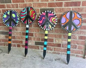 Yard stakes, peace sign, garden decor, peace sign garden stake