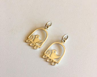 Bird Charms-Two Sterling Silver Charms
