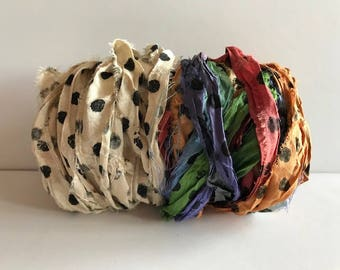 Silk Sari Recycled Ribbon-Polka Dot Sari Ribbon-10 Yards