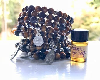 Tigers Eye Essential Oil Diffuser Gemstone Fully Adjustable Bracelet with Sample of our Happy Go Lucky Essential Oil Aromatherapy Blend