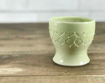 Small porcelain cup. Bathroom water cup.  Light green glazed cup. Light green bathroom accessories. Green bathroom set. Ceramic cup. Tumbler