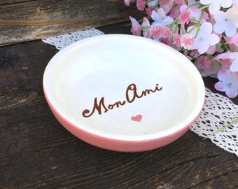 Mon Ami Ring Dish - Ceramic Ring  & Trinket Bowl for Lovers of All Things French
