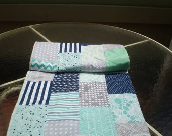 Baby Quilt, Navy Blue, Grey, Mint Green, Aqua, Baby Boy Bedding, Baby Girl Quilt, Handmade Crib Quilt, Chevron, Modern, Toddler, Cool Breeze