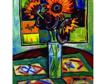 Wall Art - Art Print - Sunflower Art - Vase of Sunflowers - Quilt Art