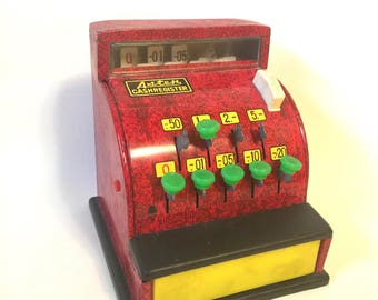 Vintage Asten Toy Cash Register Metal Tin