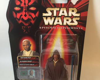 Vintage Star Wars Mace Windu Episode 1 Action Figure MINT with CommTech Chip