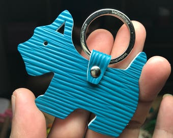 Small size - Scottie silhouette dog Epi leather keychain ( Teal )