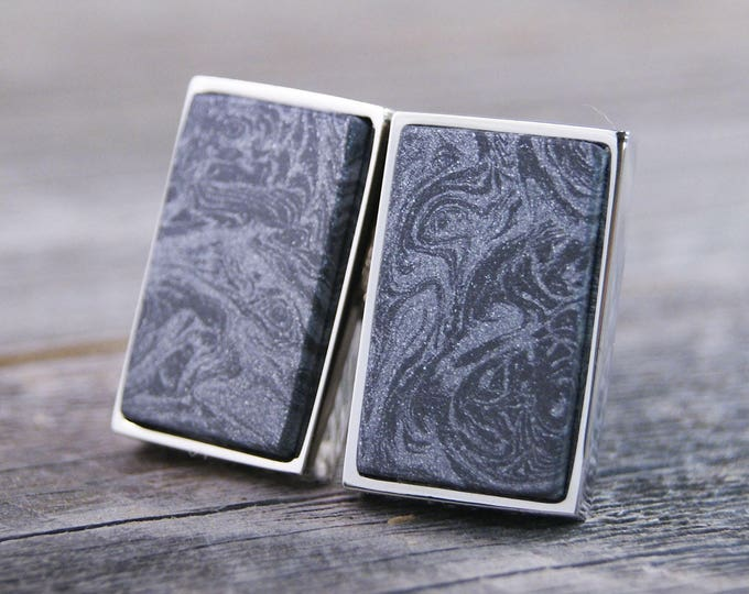 Cufflinks Handcrafted from M3 Aluminum and Carbonite Mokume