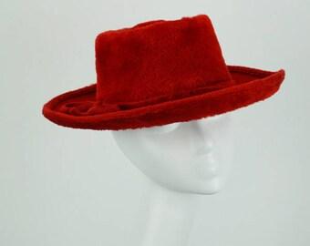 Vintage 1980s Hat Southwestern Style Red Faux Fur Adolfo Sz 21.5
