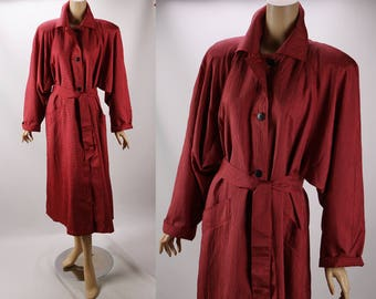 Vintage 1980s Weather Rain Coat Tomato Red and Black Checks Full Style