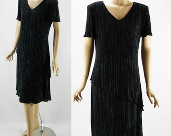 Vintage 1970s Black Crystal Pleated Asymmetrical Sack Dress by Connected Sz 12 B38 W38