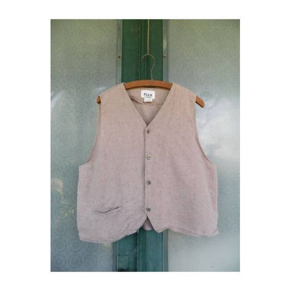 FLAX Engelhart Temperate 1995 V-neck Menswear Vest -L- Clay Brown Linen
