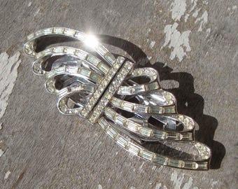 Vintage Rhinestone Duette 50s Convertible Brooch & Dress Clips