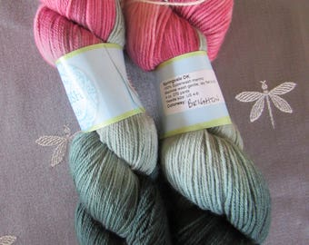 "Two Skeins Hand Dyed Artisan 100% Superwash Merino Springvale DK Weight Yarn ""Three Irish Girls"" Colorway: BRIGHTON Pinks Grays"