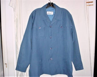 Vintage 70s Blue Polyester Leisure Jacket Haband Large