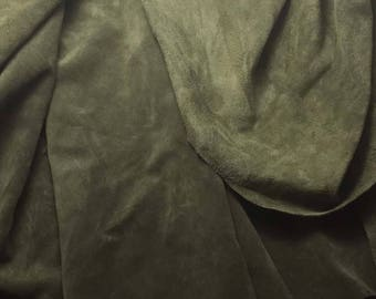 """OLIVE GREEN Suede Lambskin Leather Hide Piece #5 10x6"""""""