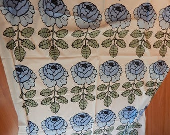 marimekko fabric blue roses, maija isola, scandanavian, mid century, decor,  over two yards