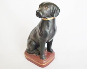 vintage labrador black dog paperweight bookend figurine