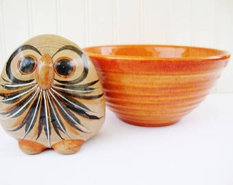 vintage owl figurine mexican pottery tonala folk art with bird sculpture paperweight