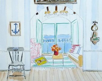 Beach Watercolor, Original Painting, Watercolor Painting, Interior,  Furniture, Beach Cottage,