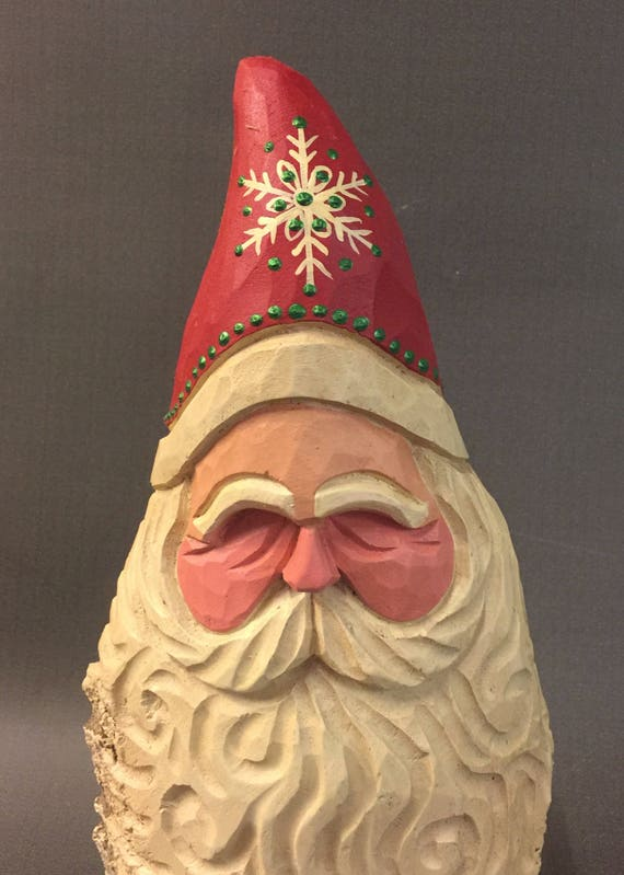 HAND CARVED original Santa bust w/ curly beard from 100 year old Cottonwood Bark.