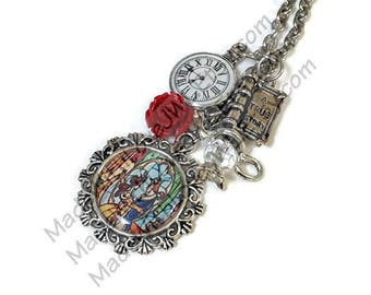 Beauty and the Beast Stained Glass Necklace With Charms