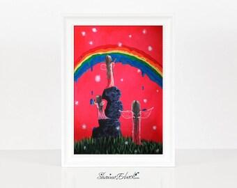 Rainbow Fairies - Fairy Art Prints - Miniature Prints - Home Decor Ideas - Wall Art - Colorful Art - Sister Gift Idea - Whimsical - Cute Fae