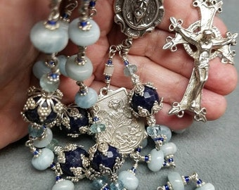 SALE Unbreakable Sapphire, Aquamarine Sterling Silver Rosary, Hand-cast Crucifix, Padre Pio Center, Guardian Angel Medal HeartFelt Rosaries