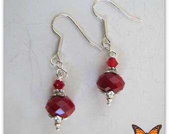 Red Dangle Earrings,  Beaded Earrings, Christmas Red Earrings,  Bridesmaid Earrings. Tibetan Silver bead caps,  Surgical Steel Wires #1259