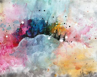Ink abstract painting on canvas A4 - rainbow cloud city