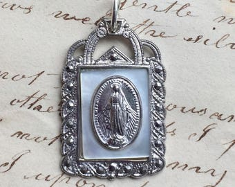 Vintage Sterling and Marcasite Miraculous Medal